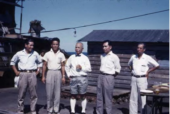 Senior members of the Fujita Salvage Company on board British Motorist in 1959; L-R: Kazutaka Kobayashi (Chief Operator of salvages), Sohei Fujita (elder son), Ryugo Fujita (President of Fujita Salvage Company), Senichiro Fujita (younger son), Takeichiro Yukihata (Chief of Workers) (Frank J Cleggett Collection, NT Library).