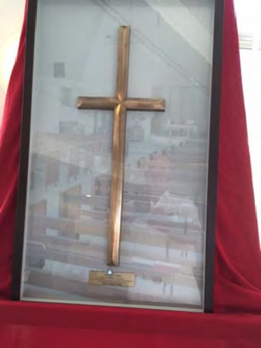 One of the 77 bronze crosses presented by Mr Fujita to the Darwin Memorial United Church