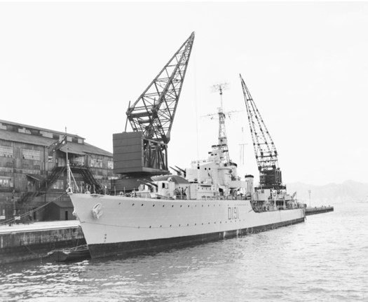 HMAS Bataan at Kure. She deployed to Japan five times on BCOF duties and twice for Korean War service.