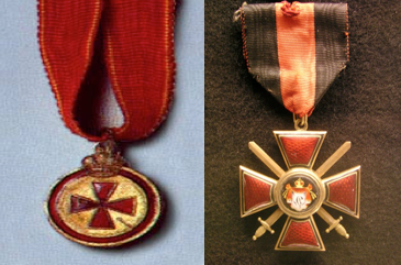 The Medal of the Order of St Anne awarded to non-commissioned (Left) and the Order of St Vladimir 4th Class with Swords awarded to Commander Arthur Bond (Right).