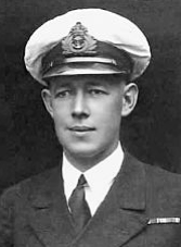 Lieutenant, later Vice Admiral, Roy Dowling wearing the ribbons of the British War Medal and Victory Medal for his service in southern Russia in 1920.