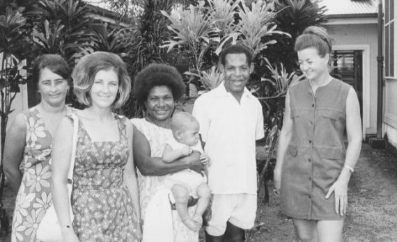 RAN spouses and local PNG workers with one of Tarangau's newborns c.1970.