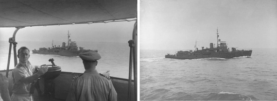 Left: Shepparton underway, seen from the bridge of HMAS Moresby, in the Timor Sea, circa 1944. Bother vessels were part of the survey group undertaking hydrographic survey of the approaches to Darwin through the Timor Sea in anticipation of the ships of the British Pacific Fleet using this passage to transit from the Indian Ocean. On the bridge of HMAS Moresby are Lieutenant Lewis A Jones RANVR (left) and Moresby's captain Commander Colin G Little OBE DSC MID. (AWM P02305.015). Right: Shepparton underway.