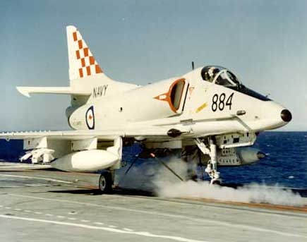 An A4 prior to launching from the aircraft carrier HMAS Melbourne.