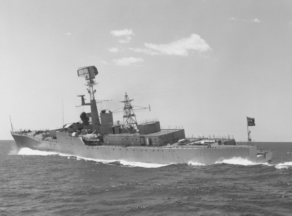 Stuart undergoing sea trials c.1963. Note the red ensign flying from her quarterdeck.