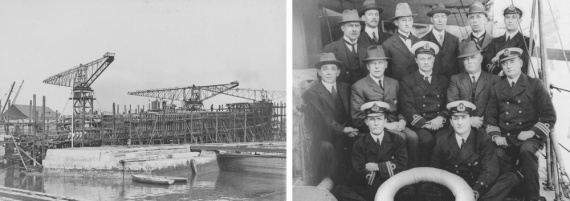 Left: Swan under construction on the slipway, 23 April 1915. Right: Officers of HMAS Swan and dockyard managers.