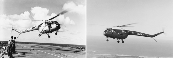 Left: A Sycamore helicopter about to land on HMAS Melbourne Right: A Sycamore helicopter, in the later blue and white paint scheme, flys over the NSW south coast.