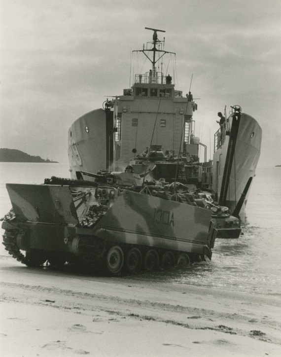 Tarakan disembarking Army vehicles. Beaching exercises such as this were typical for LCH's in their Army support role.