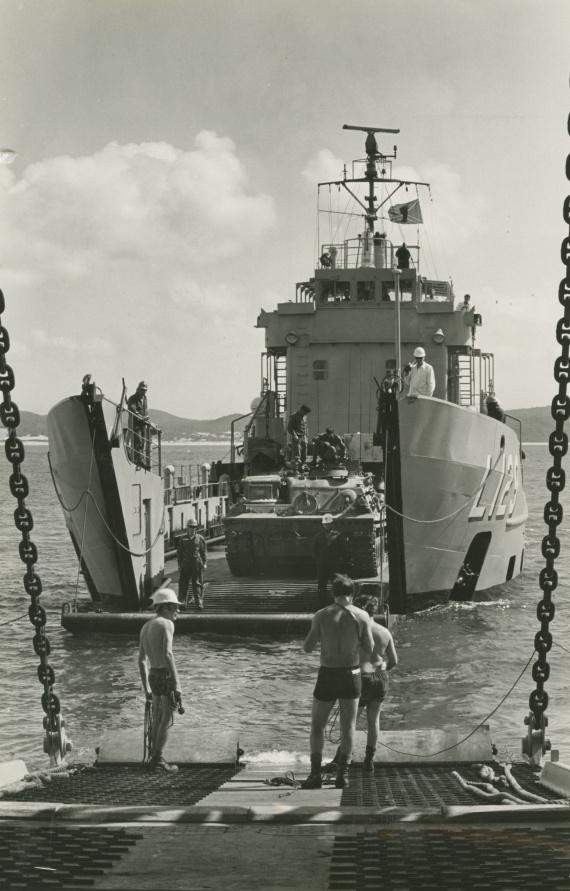 Tarakan preparing to conduct a stern door marriage with HMAS Tobruk in Shoalwater Bay