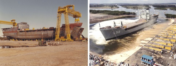 Tobruk under construction and being launched from the Carrington Slipway at Tomago, NSW.
