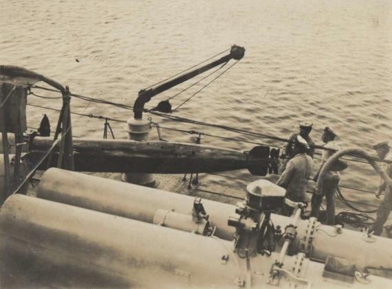 Loading HMAS Tasmania's 21-inch torpedos