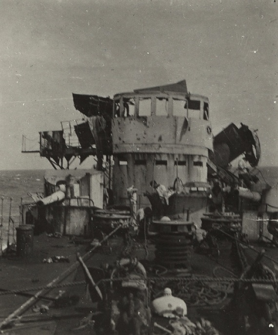 Damage to Emden's bridge as seen from her foc'sle