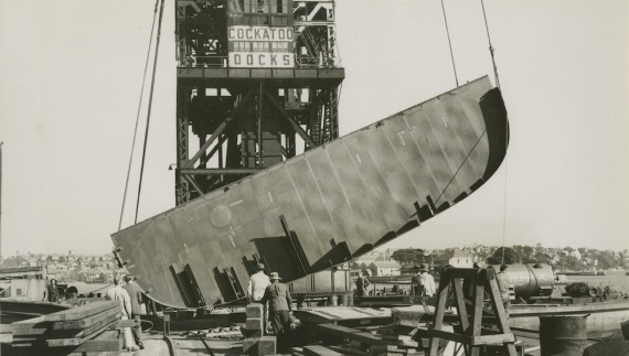 HMAS Vampire's keel being laid at Cockatoo Island Dockyard, 1 July 1952