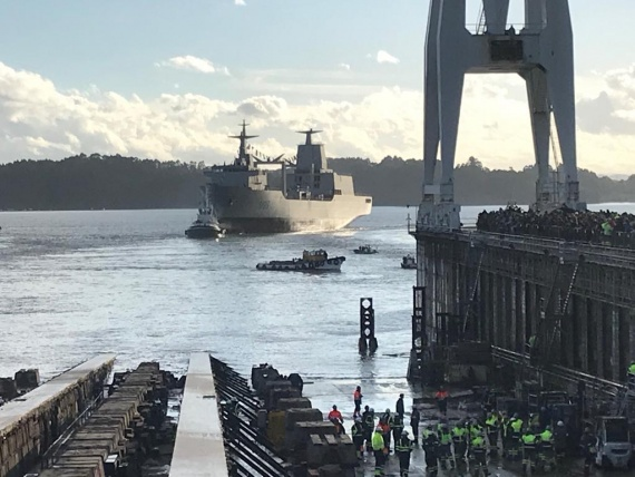 Lead ship of the Supply Class AORs, NUSHIP Supply, is launched at the Navantia Shipyards in Ferrol, Spain.