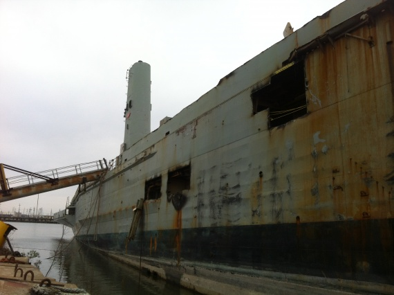 Kanimbla's hull beached in the breakers yard. (Marsha Coates)