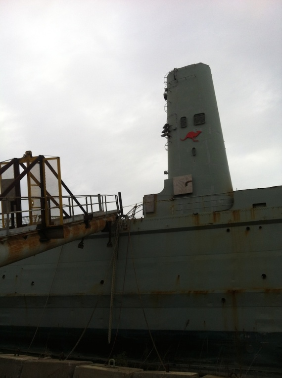 Kanimbla's red kangaroo funnel emblem stands defiant in the breakers yard.