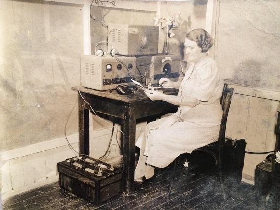 Ruby at her radio on Vanikoro