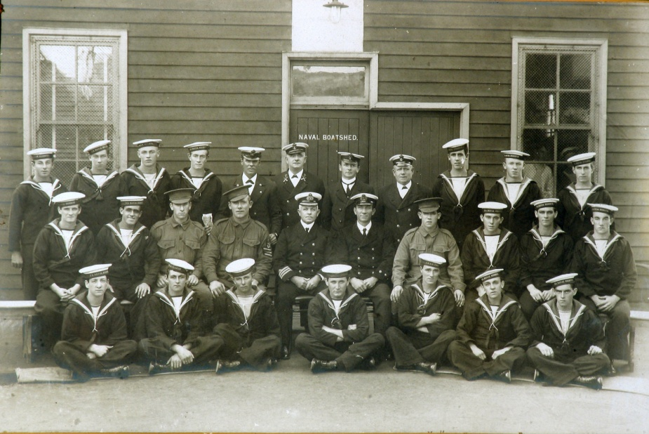 The Newcastle Unit of the Royal Australian Naval Reserve. Pictured in front of the new naval depot, circa 1911. Provided courtesy of Newcastle Region Library.