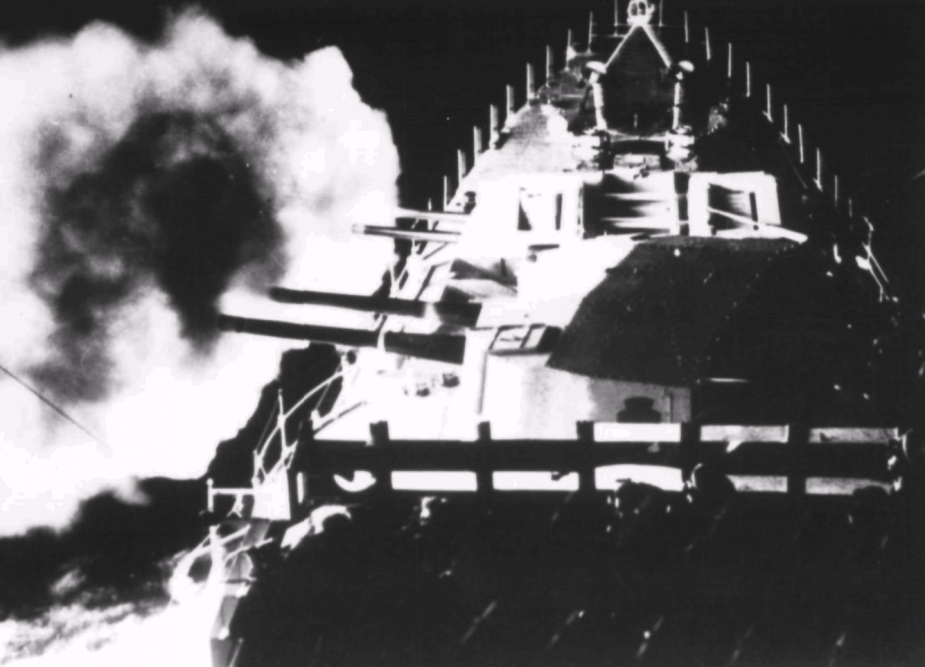 HMAS Bataan firing her 120mm guns