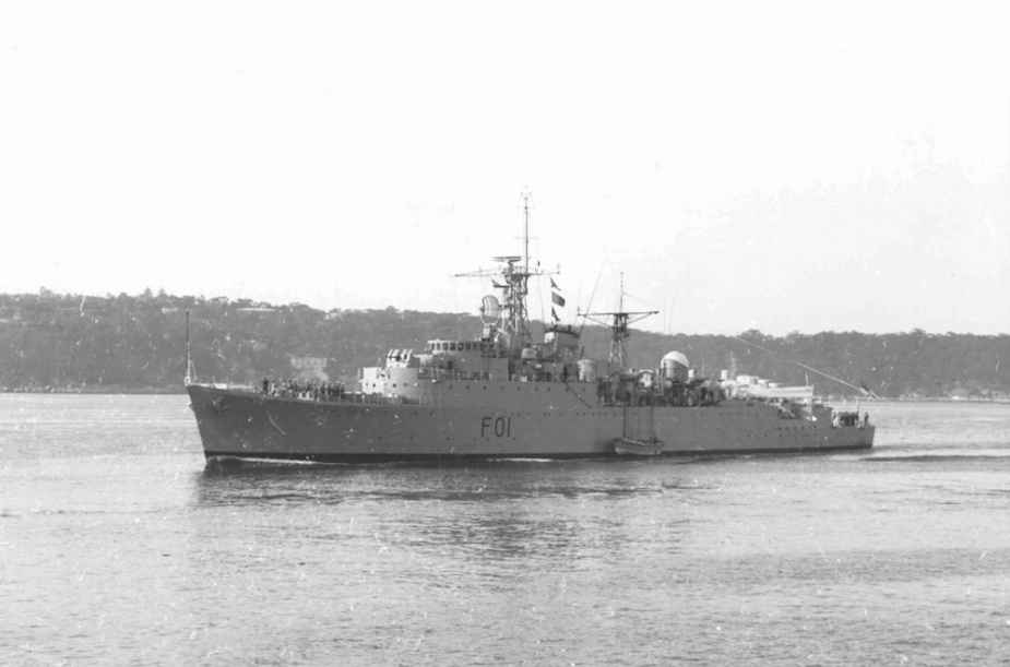 HMAS Quadrant flying her decommissioning pennant, 16 August 1957