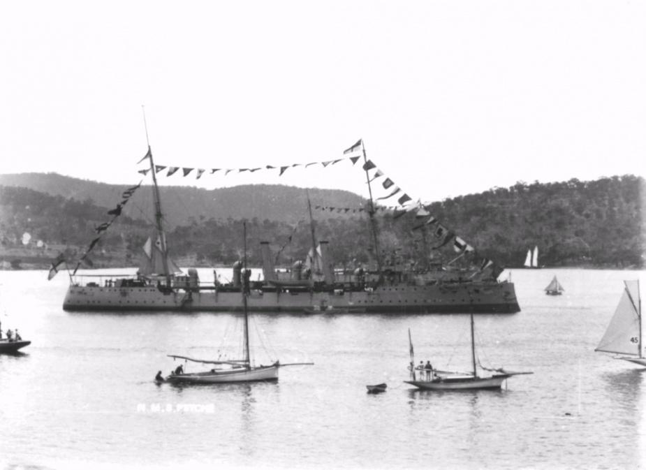 HMAS Psyche dressed ship