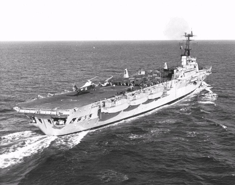HMAS Sydney, known as the Vung Tau Ferry, deploying troops and cargo to South Korea with her Wessex embarked.