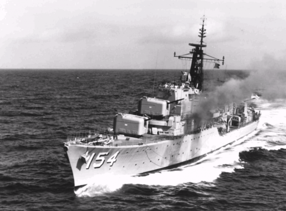 Duchess firing a six-gun broadside during exercises in March 1971.