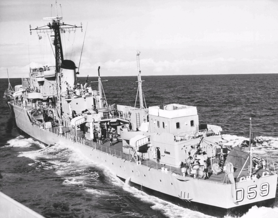 HMAS Anzac conducting replenishment approaches c. 1965