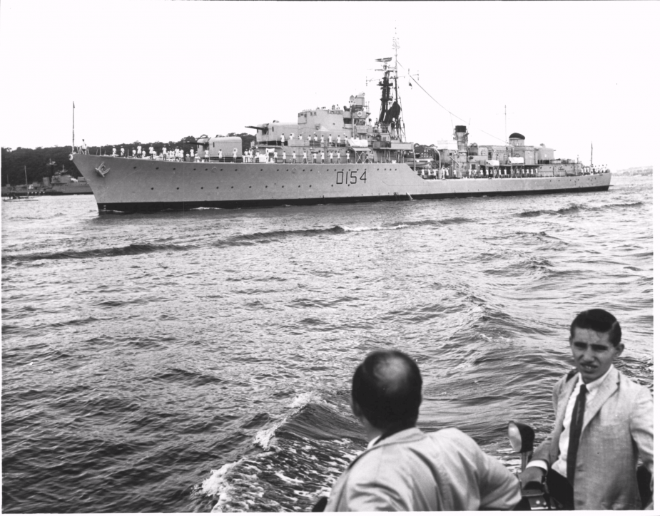 HMS Duchess arrives in Sydney Harbour on 19 April 1964.