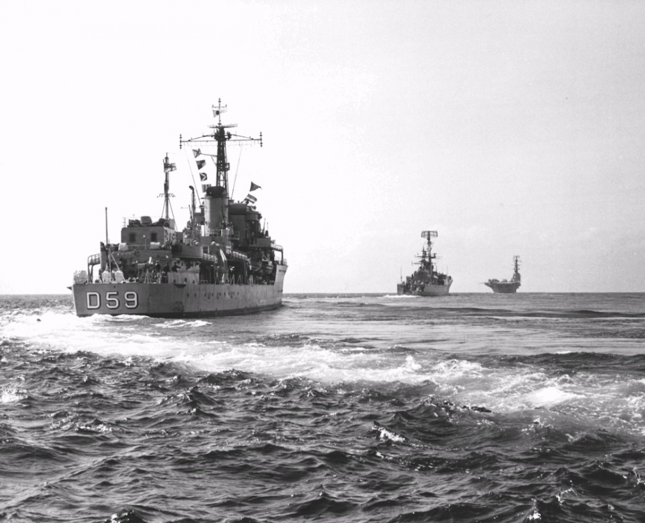 HMAS Anzac and HMAS Derwent escorting HMAS Sydney en route to Vietnam, June 1968