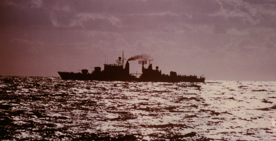 HMAS Vampire at sea showing her post refit silhouette.