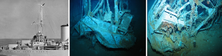 The aft searchlight platform lying inverted in the debris field. Note its distinctive lattice structure