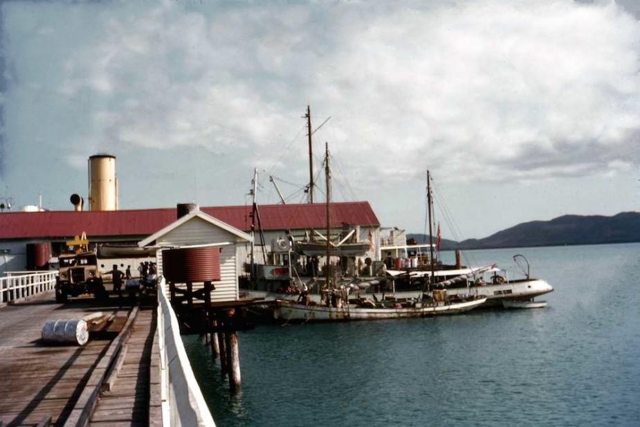 Emu alongside the main wharf at Thursday Island with a local lugger alongside and the lighthouse tender Cape Leeuwin on the outside wharf.(Courtesy Sam Bateman)