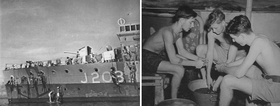 "Left: Rockhampton sailors painting the ship's side as part of general maintainence (AWM 108666) Right: Sailors preparing potatoes for meal-time were known as ""spud barber's"". (AWM 119205)"