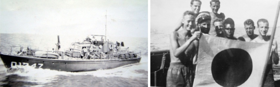 Left: HDML 1347 en route to Wewak. Right: Lieutenant Hordern and his crew pose with a captured Japanese flag, Wewak, 1945
