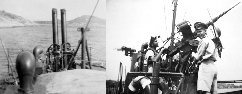 Left: HDML 1347's main armament. Right: Lieutenant Hordern and Sub-Lieutenant Wilkinson manning 1347's Oerlikon gun.