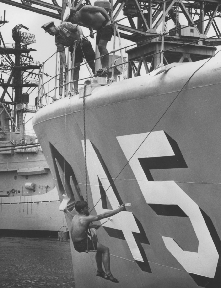 In 1969 the RAN adopted pennant numbers from block allocations found in ACP 113, and at the same time introduced bold style ship's pennant numbers on the hulls of its warships.