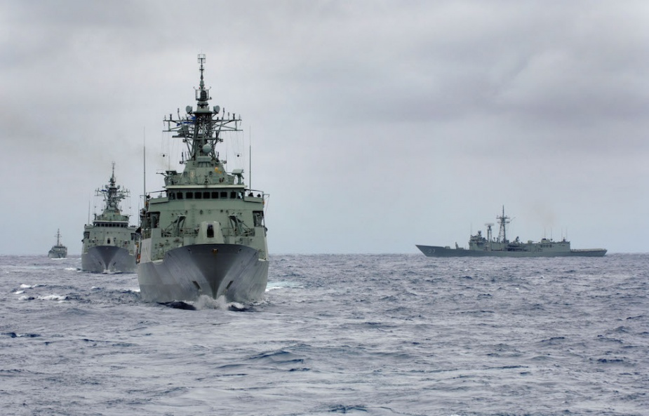 Sydney conducting Officer-of-the-Watch Manoeuvres with HMA Ships Stuart, Warramunga, Yarra and Gascoyne during Exercise Ocean Protector.