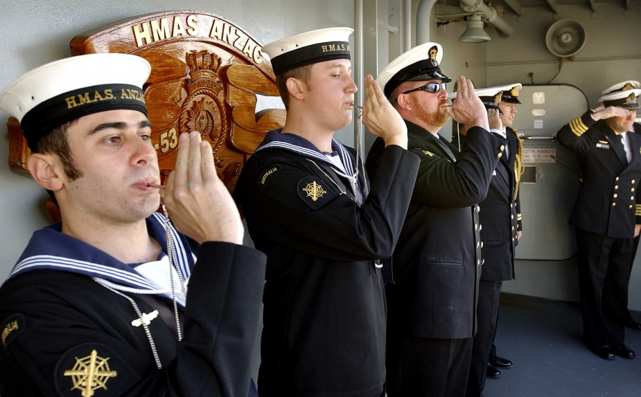Gangway staff piping the side on board HMAS Anzac (III). Gangway ceremonial, including the presentation of Battle Honour Boards, continues to play an important role in naval customs and traditions.