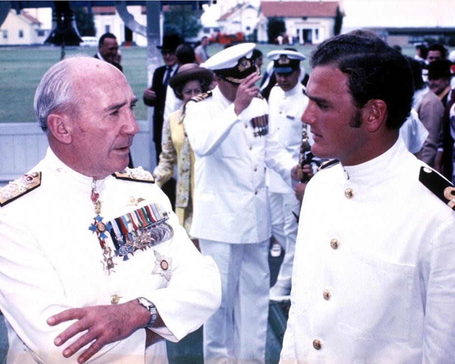 Admiral Sir Victor Smith, RAN in conversation with Sub Lieutenant JR Stapleton, RAN, HMAS Creswell, c.1971