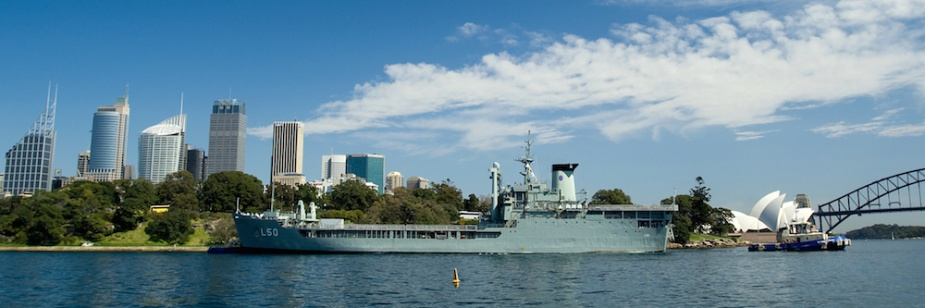 HMAS Tobruk departs Fleet Base East (FBE), Sydney Harbour following her refit in 2008.