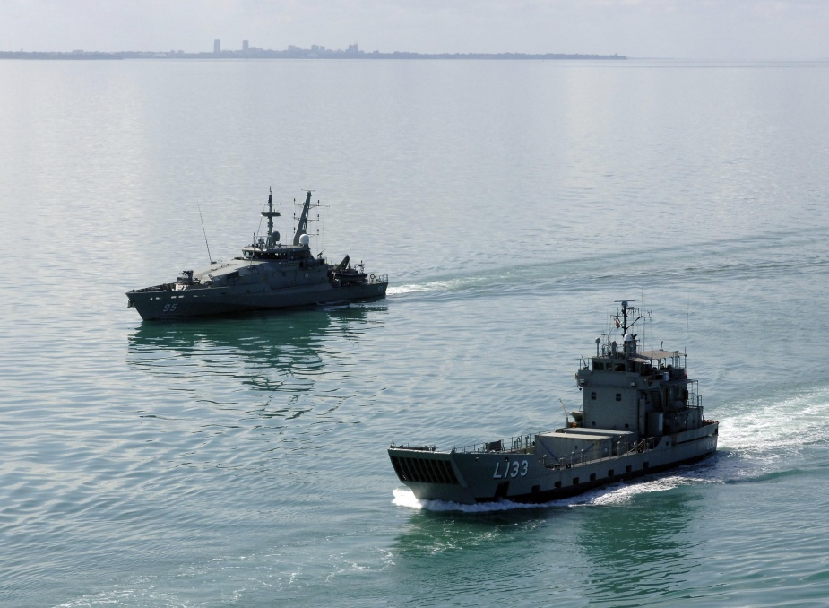 Armidale Class Patrol Boat HMAS Maryborough with HMAS Betano, sail in company from Darwin Harbour.