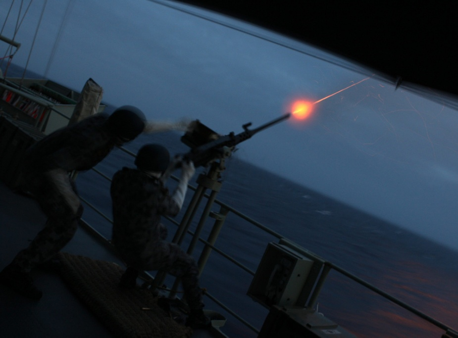 12.7mm M2 machine gun firing practice in HMAS Perth.