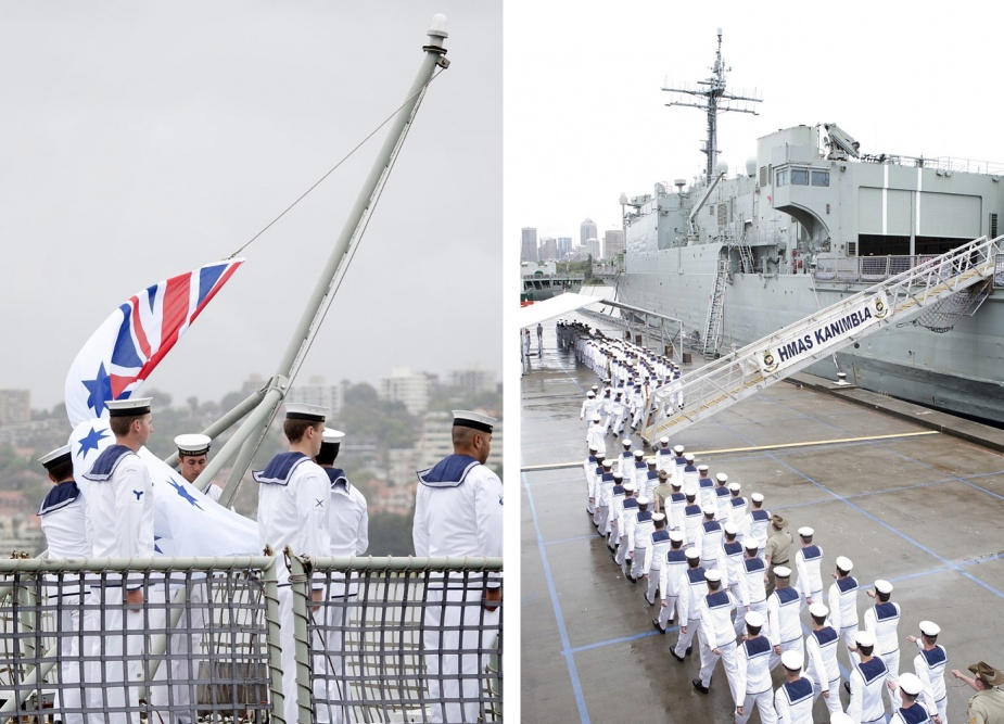 Left: The Australian White Ensign is lowered for the last time at the decommissioning ceremony conducted in Sydney on 25 November 2011. Right: Kanimbla's ship's company march off on completion of the decommissioning ceremony.