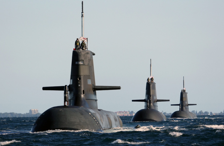 HMAS Dechaineux leads HMAS Waller and HMAS Sheean in formation.