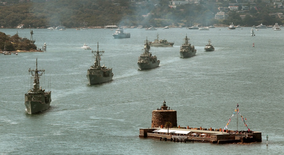 HMA Ships Sydney, Darwin, Perth, Parramatta, Bundaberg and Gascoyne sail into Sydney Harbour for the International Fleet Review 2013.