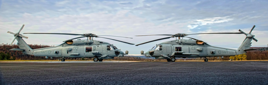 The RAN's first two Sikorsky MH-60R Seahawk 'Romeo' naval combat helicopters at the Lockheed Martin facility in Owego, New York. Mixed RAN/USN crews flew the two aircraft from New York to Jacksonville in December 2013.