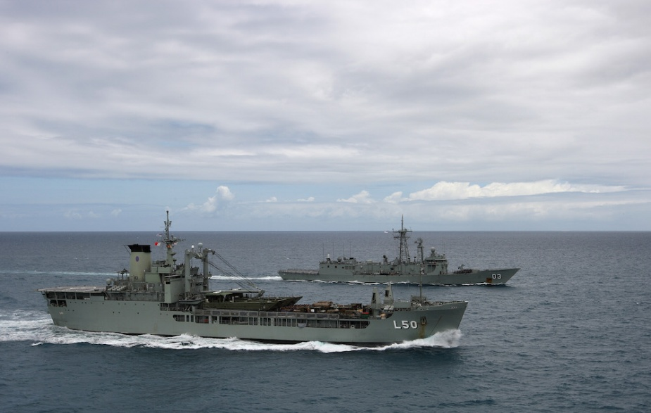 HMAS Sydney conducting Officer of the Watch Manoeuvres (OOWMANS) with HMAS Tobruk. Tobruk decommissioned in 2015, the same year in which Sydney's operational service came to an end.
