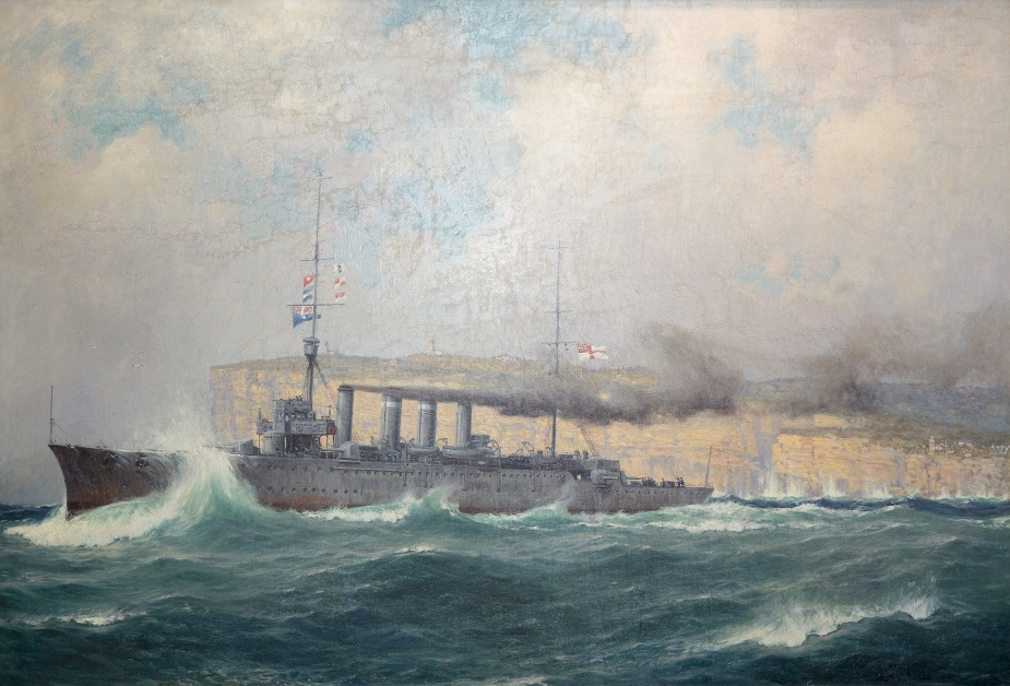 Sydney steaming out of Sydney Heads following the outbreak of World War 1 (RAN Heritage Collection)