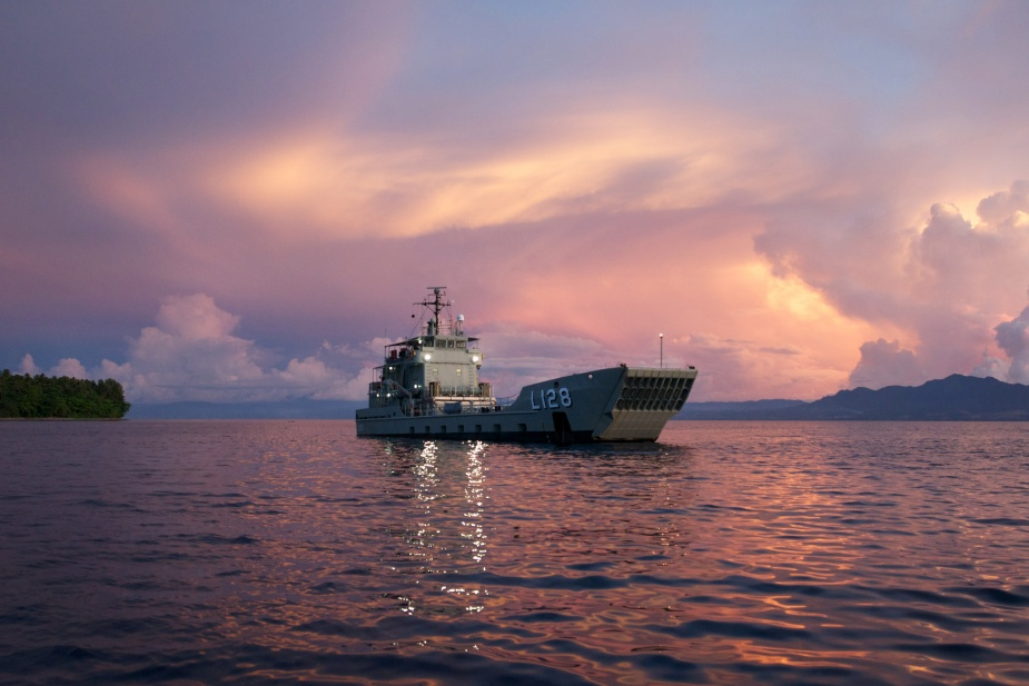 HMAS Labuan at anchor off Savo Island, Solomon Islands, 14 September 2014